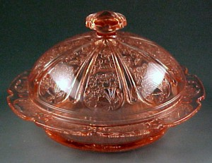Jeannette Gass Cherry Blossom Pink Depression Glass Butter Dish with Lid