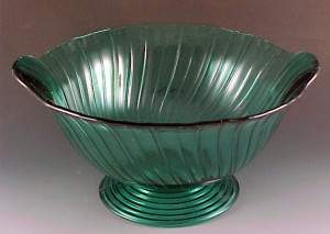 Jeannette Glass Aquamarine Teal Depression Glass Footed Console Bowl
