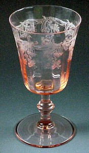 Central Glass Scott's Morning Glory Etched Vintage Pink Goblet Stemware