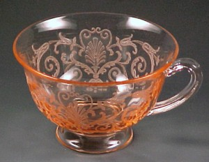 Fostoria Glass Versailles Etched Pink Footed Cup