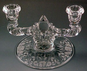 Flea Market Find – New Martinsville Wild Rose Etched Candleholders