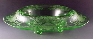 Cambridge Elegant Depression Glass Urn Swag Etched Green Console Bowl