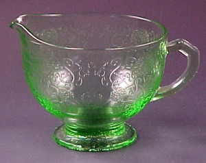 Hazel Atlas Florentine #1 Poppy Green Depression Glass Creamer