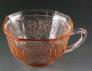 Hocking Mayfair Open Rose Pink Depression Glass Cup