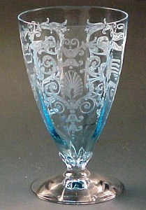 Fostoria Versailles Etched Blue Elegant Glass Footed Water Tumbler