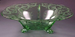 Fostoria Green Versailles Etched Elegant Glass Console Bowl