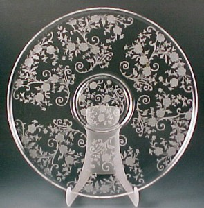 Fostoria Glass Buttercup Etched Crystal Torte Plate