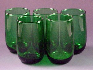 Set of Christmas Green Glasses - Forest Green Juice Tumblers
