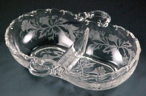 Fostoria Glass Heather Etched Century 2-Part Relish Dish