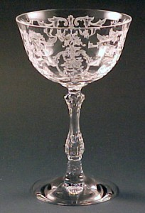 Fostoria Glass Navarre Etched Crystal Tall Champagne Sherbet Stemware