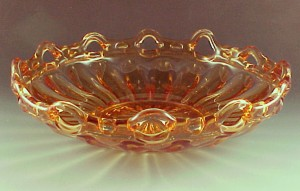 Fostoria Colonial Prism Laced Edge Amber Art Glass Bowl