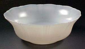 American Sweetheart Monax White Depression Glass Serving Bowl