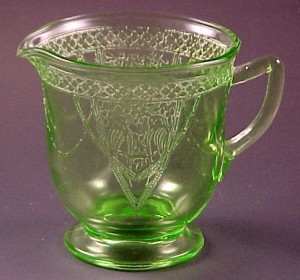 Federal Georgian Lovebirds Green Depression Glass Big Creamer