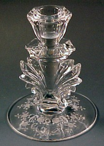 Fostoria Glass Meadow Rose Etched Candleholder