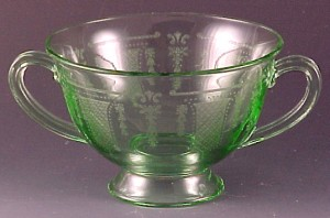 Fostoria Glass Beverly Etched Green Bouillon Cup