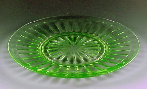 Pillar Optic Green Depression Glass Lunch Plate