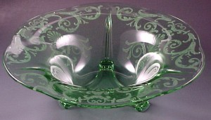 Fostoria Glass Versailles Etched Green Flared Console Bowl