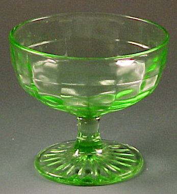 Block Optic Green Depression Glass 3 inch Stemmed Sherbet
