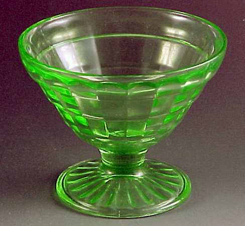 Block Optic Green Depression Glass Cone Shaped Sherbet