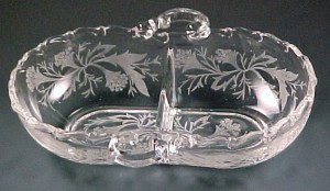 Fostoria Glass Heather Etched Crystal 2-Part Relish