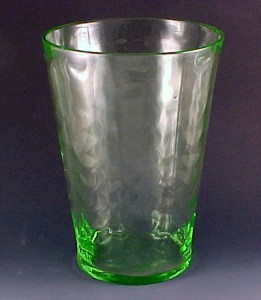 Fostoria Glass Loop Optic Green Flip Vase