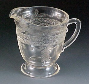 Stippled Rose S Pattern Clear Depression Glass Tall Creamer