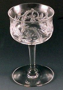 Central Glass Thistle Etched Crystal Cocktail Vintage Stemware