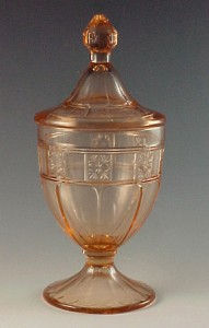 Doric Pink Depression Glass Candy Jar from Jeannette