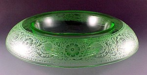 Cambridge Glass Etch 727 Green Elegant Depression Console Bowl