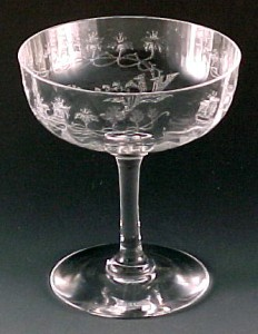 Central Glass Crystal Floral Trumpets Etched Champagne Sherbet