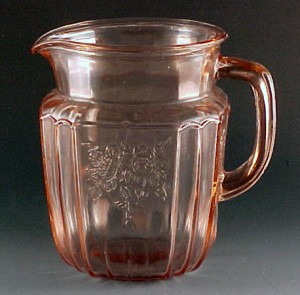 Mayfair Open Rose Pink Depression Glass Pitcher