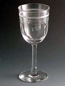 Etched Drops & Bands Etched Vintage Crystal Stemware