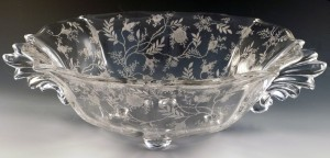 Fostoria Glass Chintz Etched Crystal 4-Toed Wing Handled Large Salad Bowl
