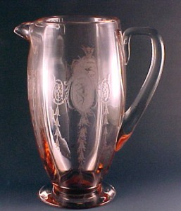 Tiffin US Glass Classic Etched Dancer Pink Pitcher