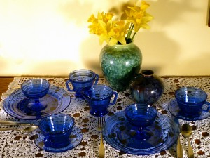 Moderntone Cobalt Blue Depression Glass Table for Two