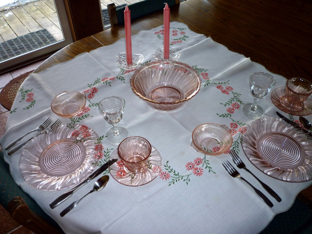 Petal Swirl Pink Depression Glass Table for Two