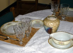 Tuillerie China Made in Japan Dinnerware and Duncan Miller Kohinoor Goblets