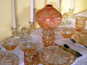Doric and Windsor Pink Glass Place Setting