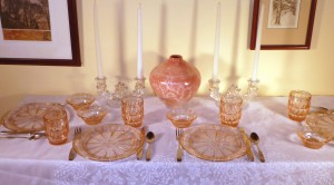 Doric and Windsor Pink Depression Glass Table