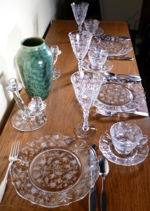 Fostoria Glass Chintz Etched Crystal Dinner Table