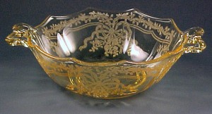 Fostoria Glass June Etched Topaz Yellow 2-Handled Bowl
