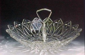 Petal Crystal Bowl Handled Tidbit Federal Glass