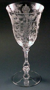 Rose Point Etched Crystal 3121 Water Goblet from Cambridge Glass