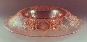 Fostoria Glass Versailles Etched Pink Console Bowl