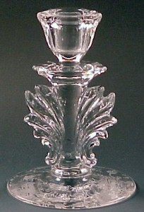 Fostoria Glass Chintz Etched Crystal Tall Baroque Candle Holder