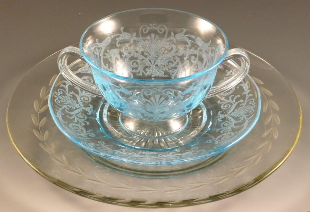 Versailles Blue Bouillon Bowl on Leaf Cut Crystal Plate