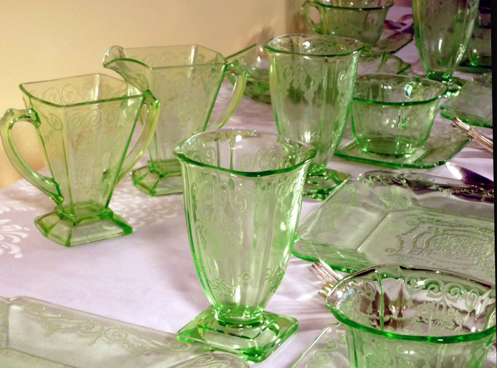 Lorain Basket Green Depression Glass