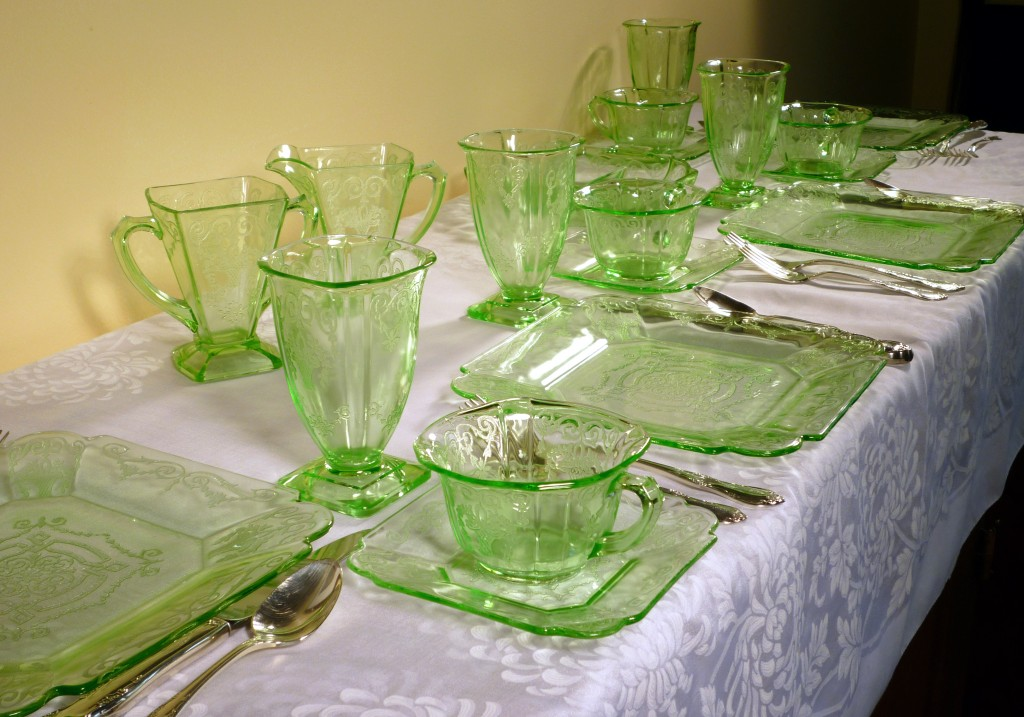 Lorain Basket Etched Green Depression Glass