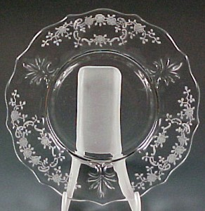 Fostoria Glass Meadow Rose Etched Crystal Salad Plate