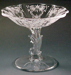 Fostoria Glass Meadow Rose Etched Crystal Baroque Comport